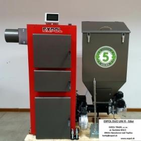 EXPOL DUO UNI R Edur 19kW plne automatický kotol so zásobníkom paliva.